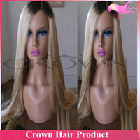 Cheap Cheap Brazilian Silky Straight Ombre Lace Front Wig #1bT#613 Blonde Two Tone Human Hair Wigs for Charming Women