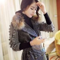 Wholesale 2015 new winter coat female Korean Slim and long sections Nagymaros collar cashmere cotton denim jacket
