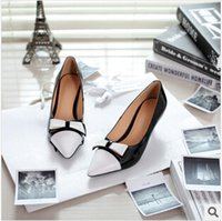 Stiletto Heel womans shoes - Leather bow sapatos femininos women pumps wedge high heels zapatos mujer chaussure femme shoes womans shoes