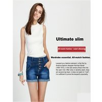 Wholesale The spring and summer of high waisted pencil pants washed cotton denim jeans shorts Womens Fashion shorts row buckle flange