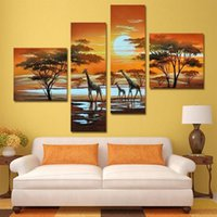african christmas pictures - 4 Panel Modern Hand Painted African Safari Landscape Picture Oil Painting Cuadros Decoarcion For Bed Room Unframed XY030