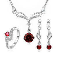Wholesale Wedding Ring Sterling Silver Sparkly Red Zircon Necklace Earrings Rings Jewelry set