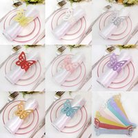 Cheap Metallic Butterfly Paper Napkin Rings Wrap Wedding Holder Bridal Shower Favor For Party Home Table Decoration 9 Colors Factory Free DHL