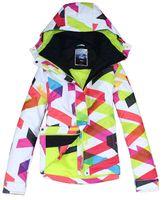Wholesale 2014 new womens ski jacket geometric pattern bright curves colorful bar snowboarding jacket ladies skiing jacket waterproof K breathable