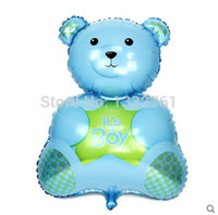 bear baby shower - In promotion piece inflatable blue bear boy ballons for baby st Birthday foil balloon baby boy shower mylar globos