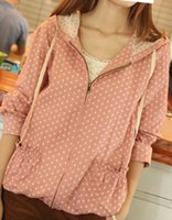 Cheap 2015 New Cute Mori Girl Spring Polka Dot Hooded Overcoat Double Layer Yarn Square Jacket Outwear Japanese Style Pink Coat