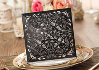 Wholesale Laser Cutting Wedding Invitations White Paper Black Wedding Invitation Card Flowers Hollow Folded Wedding Cards Personalized