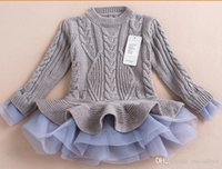 Wholesale Kids Children Sweater Dresses Baby girl tulle lace TUTU Winter Princess Jumper Pullover Casual Crochet Dress