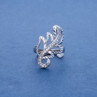 Cheap 925 Sterling Silver Beautiful Hollow Leaf Rings For Women Elastic Size Sparkly CZ Paved Unique Design For Wedding Party anel