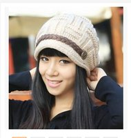 Wholesale 2015 new fashion keeping warm winter knit caps leather chain knitted cap