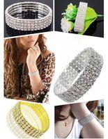 Wholesale Bling Rhinestone crystal Bracelets for wedding party rows elastic stretch full filled crystal Bangle bracelet B0212