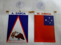 american car flags - Mini car hanging AMERICAN SAMOA AND WESTERN SAMOA flag banner inch x inch cm x cm
