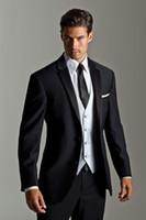 Wholesale custom made black Wedding suits for Men Tuxedos notched Lapel mens suits two button Groom suits three piece Suit Jacket Pants vest tie j04