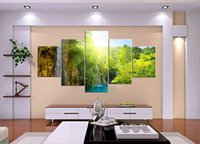 Cheap 5 Panel Free Shipping Hot Sell Modern Wall Painting Art Paint on Canvas Prints Quietly flowing small pool Natural scenery in the mountains