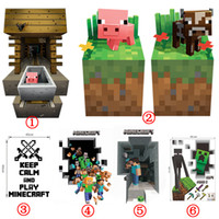 Wholesale NEW Cartoon D Minecraft Wall Stickers Home Decor Party Decoration Style Cow Pig Steve Is Digging Creeper Enderman Wallpaper Wall Decal