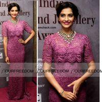 Cheap Celebrity Dress 2016 New Sonam-Kapoor High Neck With Beaded Half Sleeve Lace Sheath Long Evening Dresses Custom Made Red Carpet Dresses