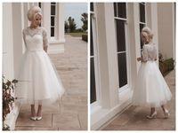 Wholesale 2015 House of Mooshki Darla Short Beach Ball Gown Wedding Dresses Scalloped Tea Length White Tulle Applique Sleeve Button Wedding Gowns
