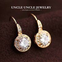 Wholesale 18K Rose Gold Plated Austrian Zirconia Rhinestone Inlaid Classic Round Lady Hook Earrings