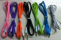 Wholesale Flat Noodle mm AUX audio cables male to male Jack Stereo Car Extension audio Cable Cord for samsung htc android phone MP3 PC colorful