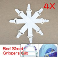 Cheap Free Shipping Good Quality Bed Sheet Fasteners Elastic Grippers Clip Holder 4 Pcs 100% brand New