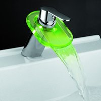 Wholesale Drop shipping tap temperature control colors LED Glass Waterfall Bathroom Lavatory Faucet Mixer Tap