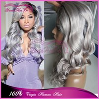 Cheap Grade 7A dark roots 100% peruvian virgin hair two tone loose wave ombre grey lace front human hair wig free shipping