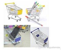 Wholesale 120 Novelty Cute shopping Cart Mobile Phone Holder Pen Holder Mini Supermarket Handcart Shopping Utility Cart Phone Holder