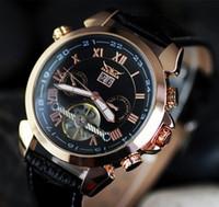 Vendita degli uomini caldi del cuoio guardano numero d'oro mens immersione meccanici risalgono automatico orologi di sport di lusso JARAGAR shiping libero 2015 i più nuovi