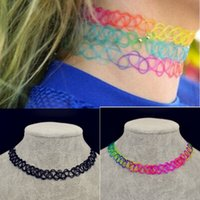 Wholesale 2015 thick dark color Handmade Hot Selling Vintage Stretch Tattoo Choker Necklace Gothic Punk Grunge Henna Elastic Necklaces