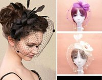 Wholesale Fascinators Net yarn feather bridal Veils top hat vintage women lady dance ball party headband headwear Tiaras Hair Accessories xmas gift