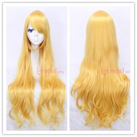 Cheap Fast Shipping Synthetic Heat-resistant Fiber 80cm Long Yellow Wavy Cosplay Party Wig CW201B
