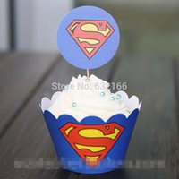 baby shower cartoons - Superman cartoon paper cupcake wrappers baby shower boy decorations for kids birthday pary cake cup picks toppers