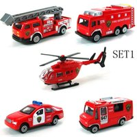 Cheap Mini Metal Alloy Red Fire Miniature Aerial Ladder Fire Truck Rescue Truck Engine Helicopter for Kids Diecast Vehicles Toys