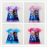Wholesale 2015 kids clothing for girls Tshirt cotton short sleeves Cartoon Elsa print for y piece