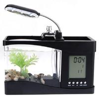 Wholesale Mini USB LCD Display Desktop Fish Tank LED Clock Table Lamp Pen Case Aquarium Best Christmas Gift White and Black