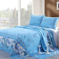 Wholesale Cotton Bedding Linens Set Home Textile Fabric Bedding Quilt Cover x250cm Blue Printed Patchwork Summer Quilted PC Set