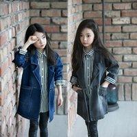 Wholesale spring autumn girl s coat cowboy cloth children s jacket kid long clothing windbreak girl suit clothes