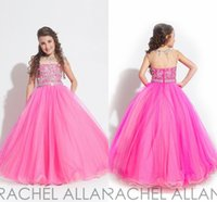 Wholesale Hot Selling New A Line Flower Girl Dress Sheer Crew Beads Ruffles Sequins Crystals Floor Length Tiers Organza Girl s Pageant Dresses