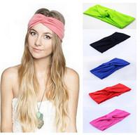 Wholesale Twist Knot Headband Stretch Lycra Brand Turban Hair Band Cross Headbands Yoga Headwear Girl Hair Accessories Bow