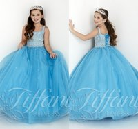Wholesale A line Blue Beaded Ball Gown Floor Length Little Girls Pageant Dresses Gowns With Straps Long Lace up Back Kids Pageant Dresses