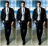 Wholesale Black Shiny Satin High Quality Mens Suit For Wedding Groom Tuxedo Exquisite Bridegroom Suit Jacket Pants Tie Vest Chic