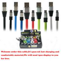 Câble de haute qualité 1M 3Ft Metal Head Chargeur rapide Câble Cordons de charge de nouilles plates Micro USB pour iPhone Samsung Livraison gratuite