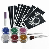 art paint kit - OPHIR Glitter Tattoo Colors Glitter Powder Temporary Glitter Tattoo Kit for Body Art Paint Nail with x Stencils Glue TA054