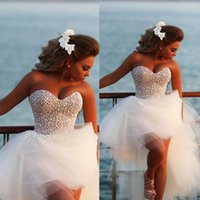 beach ball pictures - 2015 New Hot Wedding Dresses With Sweetheart Pearls Backless High Low Ball Gown Tulle Custom Made Luxury White Summer Prom Bridal Gowns