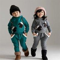 Wholesale 2pcs Sets New Arrival Autumn Winter Children Boy s and Girl s Long Sleeved Pants Suit Hoodies Pants Kids Add Plush Outfits Sets B