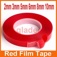Fuerte cinta Adhesivo acrílico PET rojo claro de la película lateral doble No Trace Scotch Tape Para Tablet Teléfono Herramienta Pantalla LCD de reparación de cristal