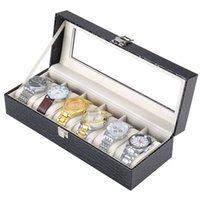 Wholesale Fashion High Quality Grids PU Leather Gift Watch Display Case Jewelry Collection Storage Organizer Box Holder
