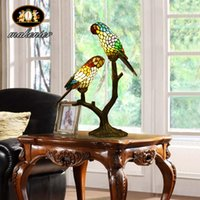 Wholesale Luxury Stained Glass Parrot Table Lamps cm Tiffany Lamparas Color Glass LED Table Lamp Hand Made Tiffany Desk Lamp Home Decoration