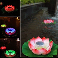 Wholesale LED Solar Lotus Lantern Water Float Light Colorful Pond Garden Pool Night Light DHL Fedex EMS