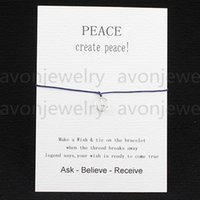 american makers - 2016 new fashion Wish bracelet create peace gift Card with Friendship Charm String cord DIY handmade bracelet maker customizable